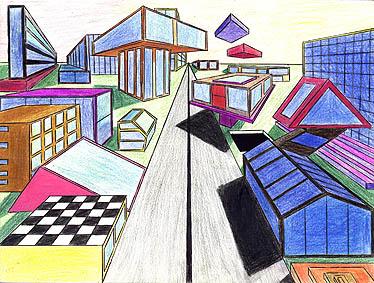 Dessin ville futuriste perspective