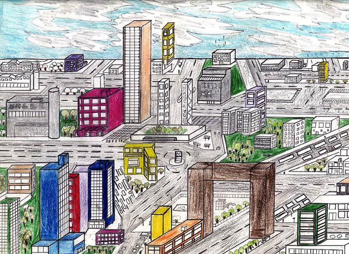 Modele Batiment En Perspective : Dessin ville futuriste perspective voitures disponibles